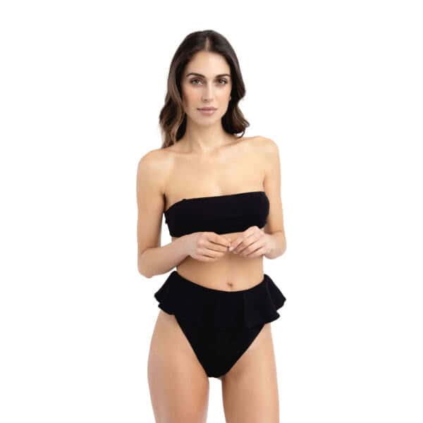 Giosì beachwear Coco goffry nero bikini fascia nero
