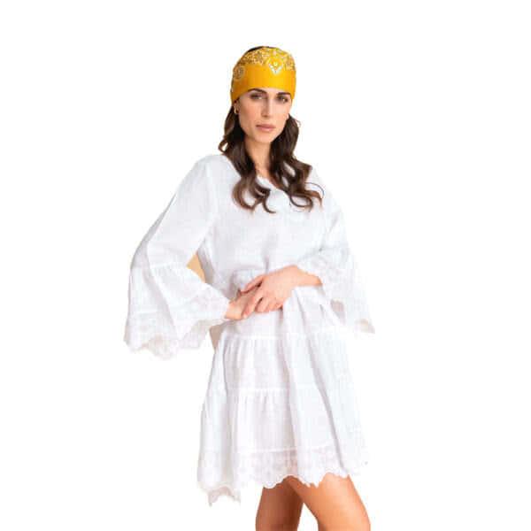 Giosi beachwear abito con ricami bianco