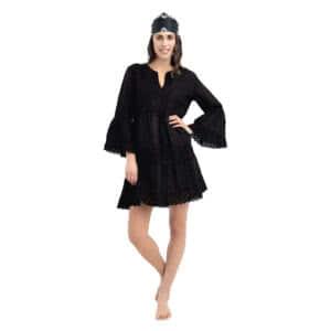 Giosi beachwear noa abito con ricami nero