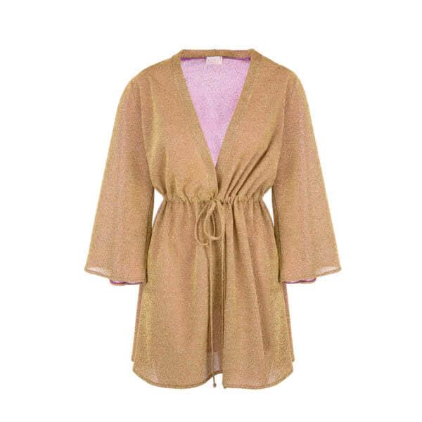 Giosi beachwear luna kimono corto vestito da mare glitter oro